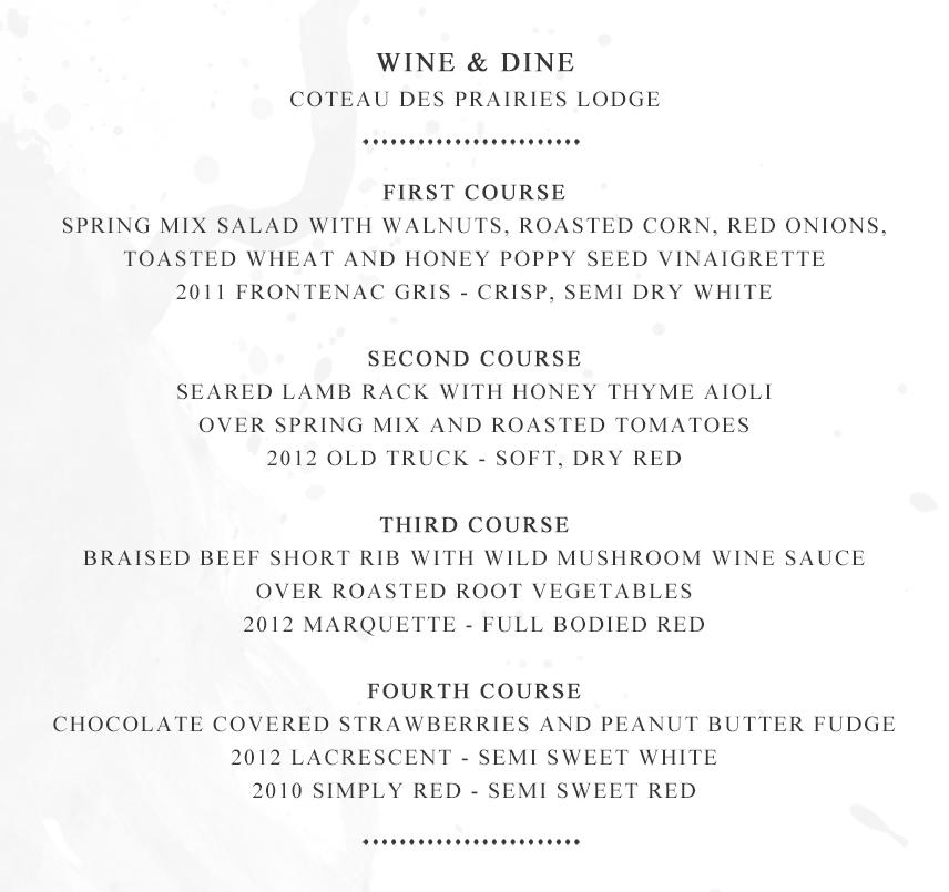 Wine & Dine Menu