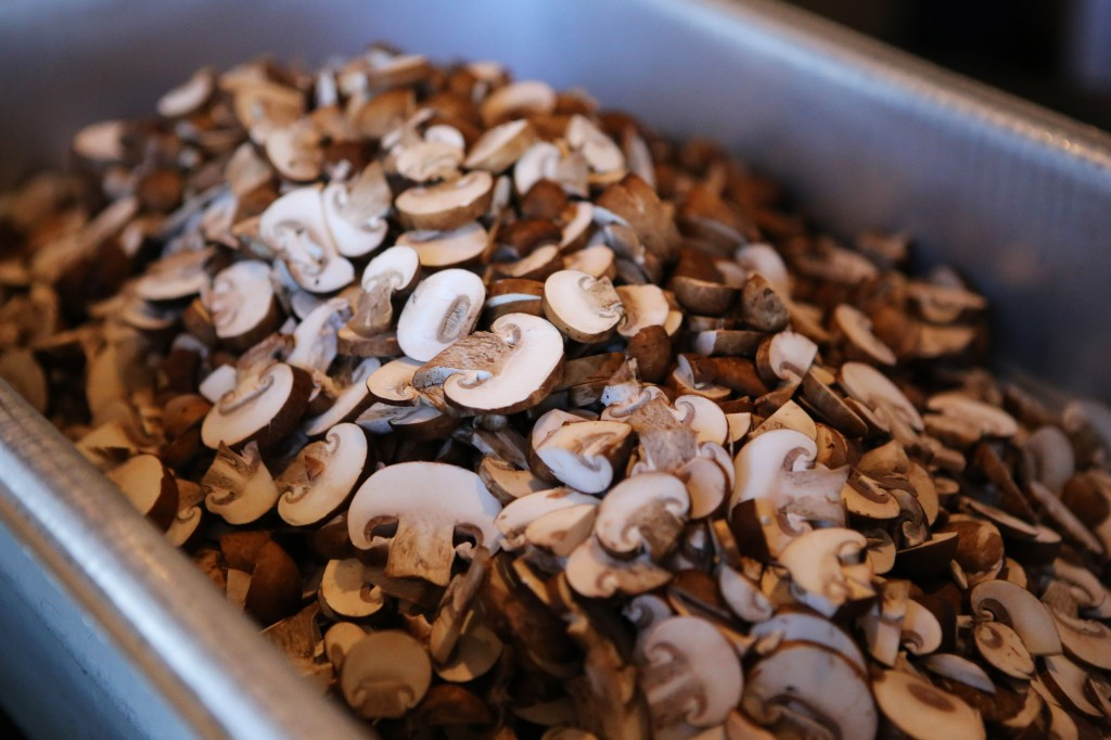 Sliced crimini mushrooms for mushroom soup