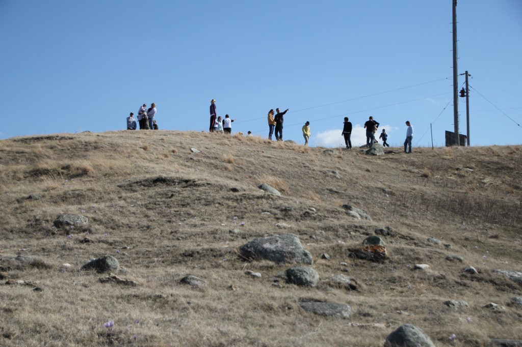 A group visits the site where the lodge would soon be build.