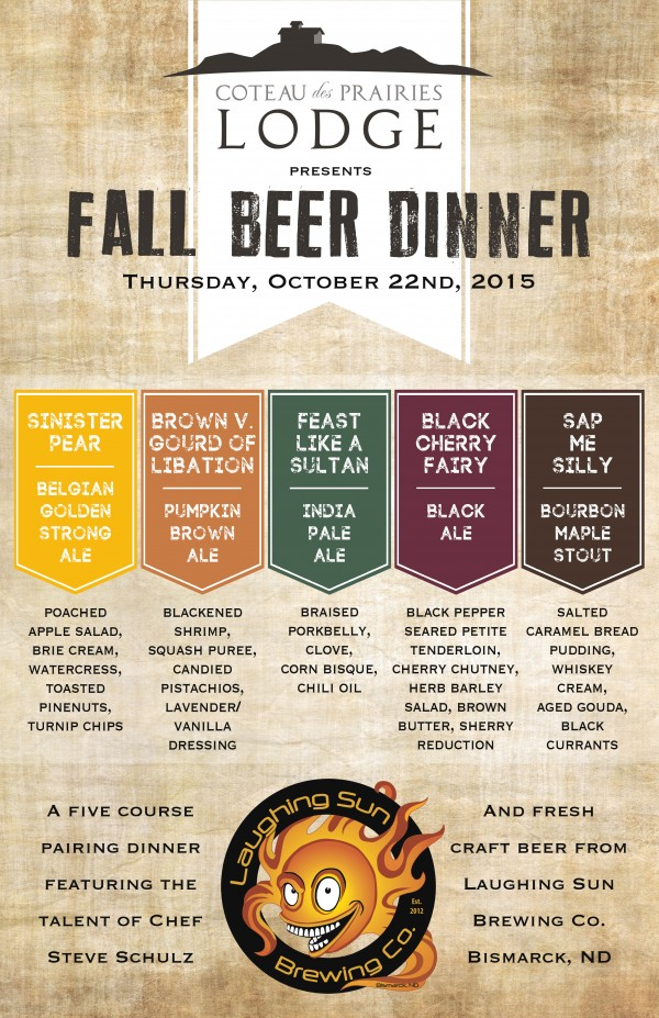 Fall Beer Dinner 10 22 Coteau Des Prairies Lodge