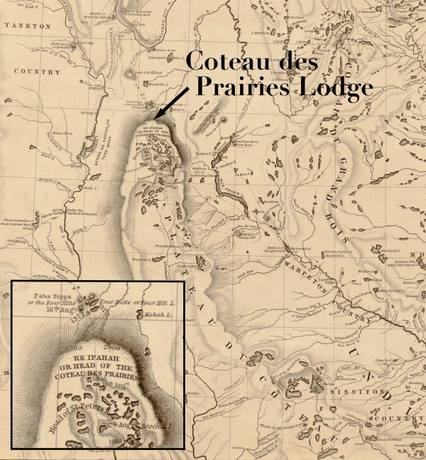 Joseph Nicollet's 1843 map with detail showing the Head of the Coteau des Prairies.